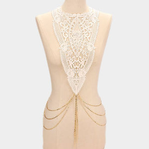 Jewelry - Boho Floral Lace Body Bib Shoulder Chain Necklace